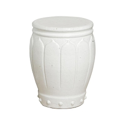 Blossom Ceramic Asian White Garden Stool