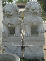 68 Inch Granite Chinese Foo Dog Pair, Northern Style