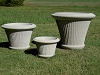 Round Fine Cast Stone Pleated Planter
