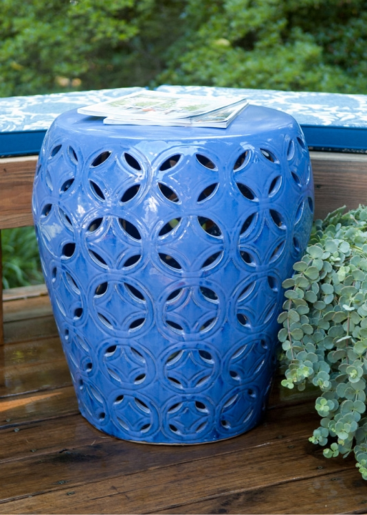 Large Lattice Blue Ceramic Garden Stool