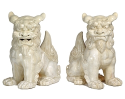 Ceramic Chinese Lion Foo Dogs Garden Art Statue (Set)