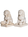 Ceramic Guardian Lions Garden Art Statue