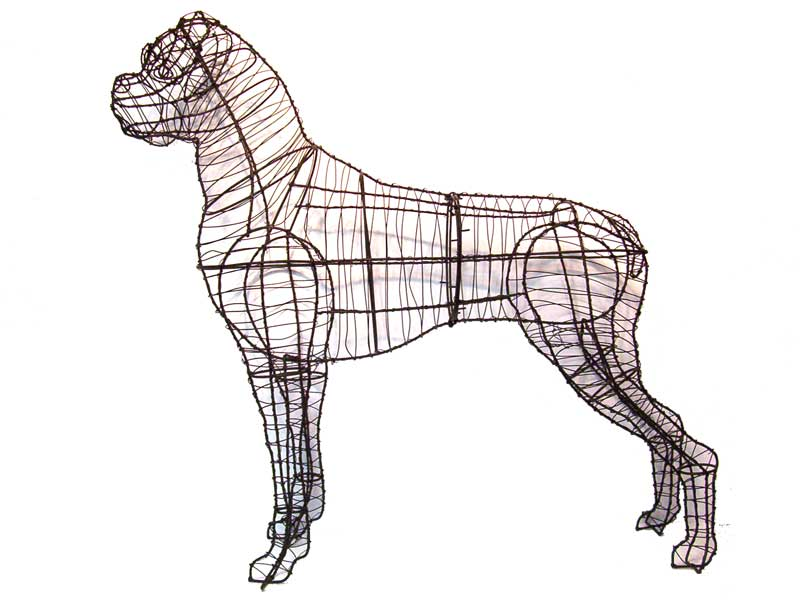 Boxer dog garden topiary mossed frame for Dog wire art