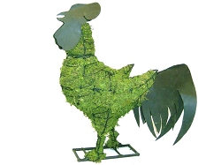 Rooster Metal Garden Topiary Mossed Frame