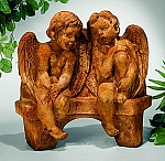 Li'l Angels Talking On Outdoor Garden Bench Garden Statue