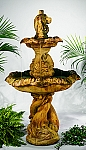 Gothic Dolphin Tier Outdoor Cast Stone Garden Fountain