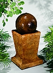Sphere On Low Pedestal Outdoor Cast Stone Garden Fountain