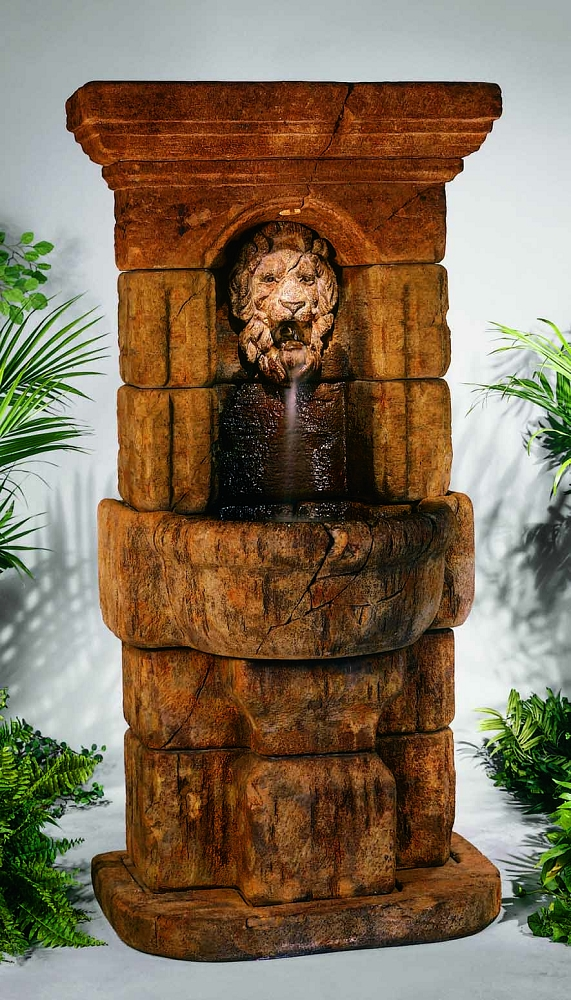 linari lion outdoor cast stone garden wall fountain