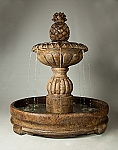 Pina Cascada in Rondo Pool Outdoor Cast Stone Garden Fountain