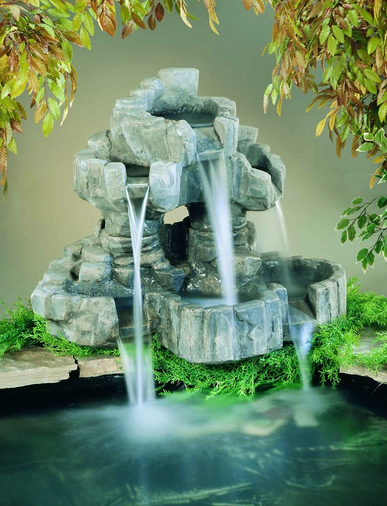 Small rockfall pond ornament outdoor cast stone garden for Pond features and fountains