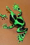 Tall Brass Green Poison Dart Frog Statue