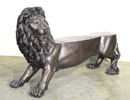 Bronze Lion Garden Bench Sculpture
