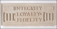 Integrity Loyalty Fidelity, Frank Lloyd Wright Larkin Plaque