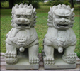 26 Inch Granite Stone Foo Dog Pair, Northern Style