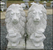 Granite Stone Lions With Shield