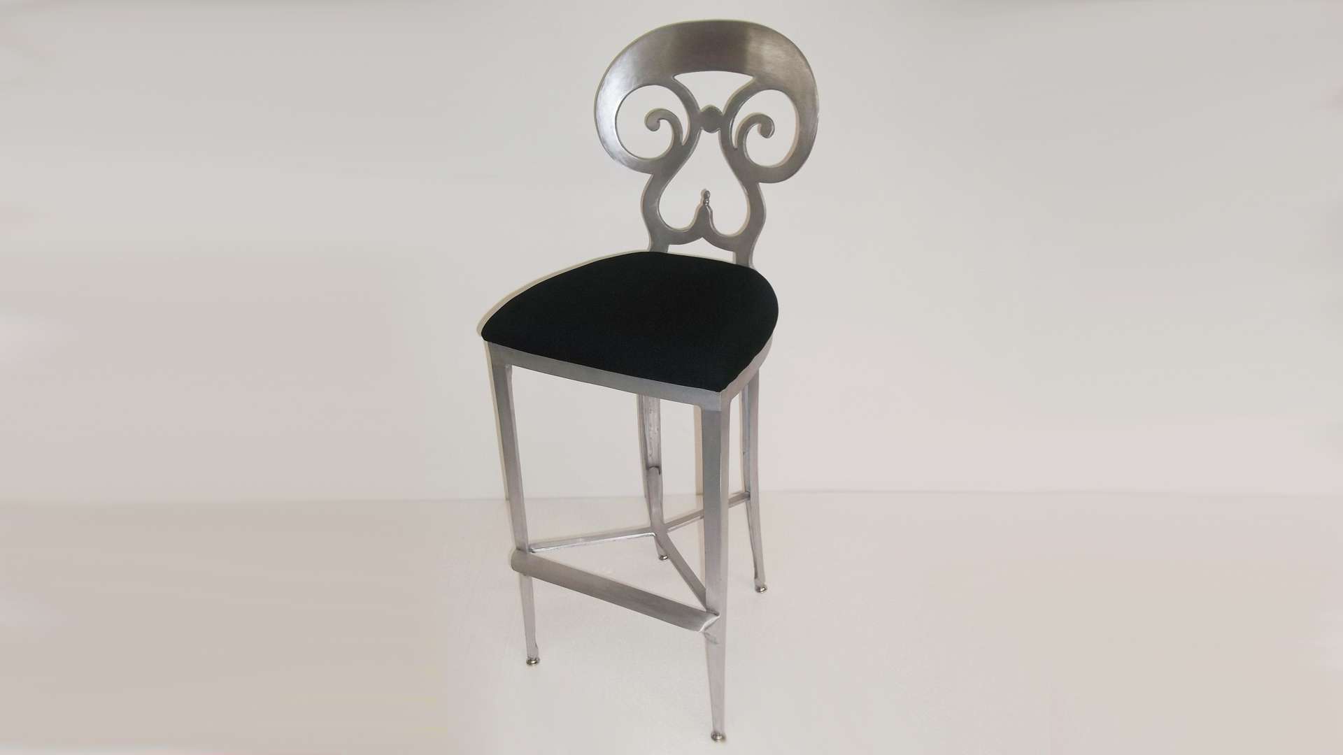 Beidermeier Counter Barstool with Antique Brushed Satin