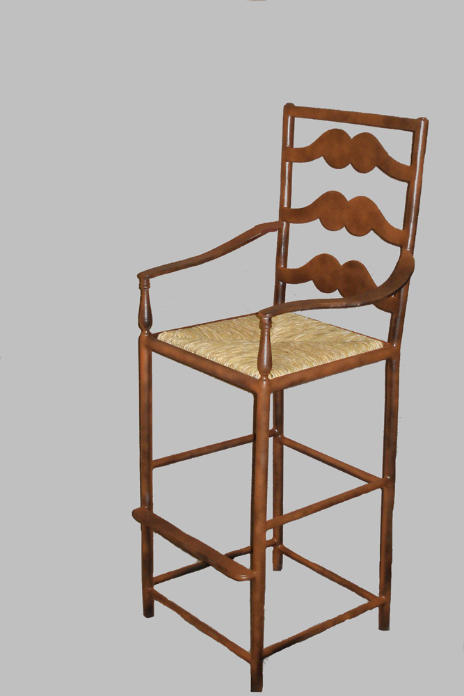 French Ladderback Barstool with Arms