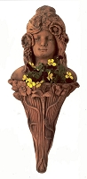 Flower Lady Fluted Stem Terracotta Wall Planter