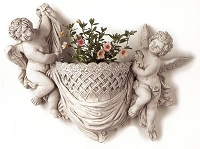 Twin Cherub White Terracotta Wall Planter