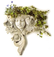 Art Nouveau Lady White Terracotta Wall Planter