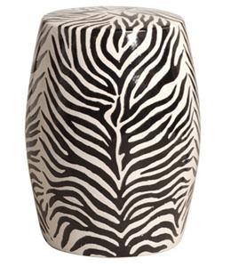 zebra motif ceramic garden stool. Black Bedroom Furniture Sets. Home Design Ideas