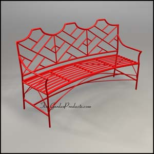 Chinese Chippendale Curved Bench