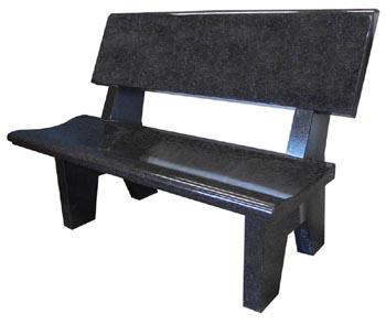 Contoured Black Or Gray Granite Garden Bench