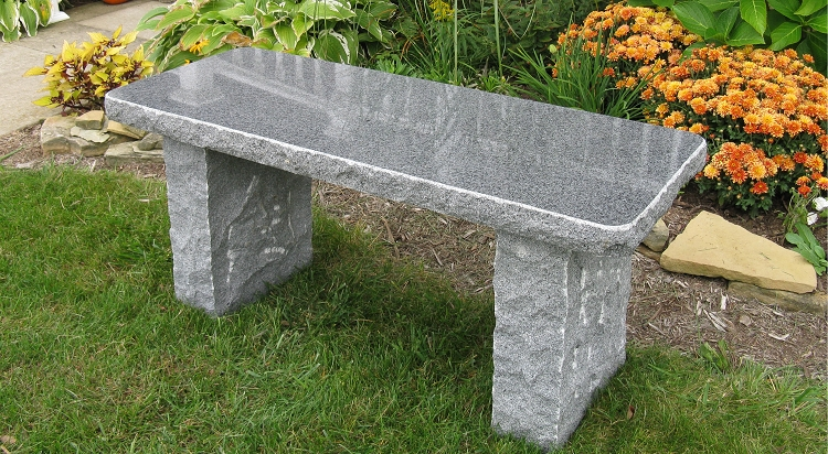 40 Inch Charcoal Gray Polished Granite Garden Bench