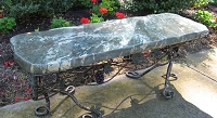 48 Inch Green Jade Polished Garden Stone Bench