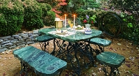 Green Stone Dining Set With Iron Vine Motif Base