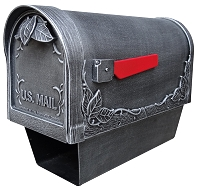 Floral Cast Aluminum Mailbox with Newspaper Tube