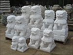 12-36 Inch Marble Chinese Lion Foo Dogs Pair