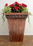 Tall Foliage Square Copper Planter