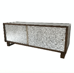 Embossed Leather Snakeskin Credenza/Media Console, Pearl White/Metallic Leather