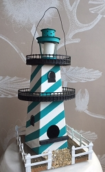 Handmade Unique Reclaimed Lighthouse Birdhouse (only one)