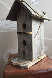 Handmade Unique Reclaimed Wood Lodge Birdhouse (only one)