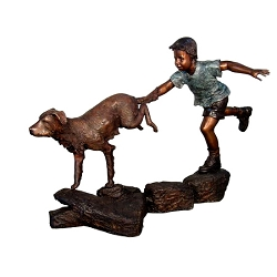 Bronze Boy Running with Dog Sculpture