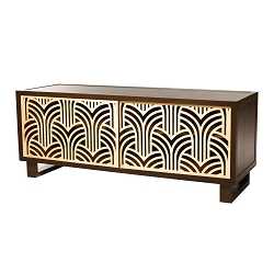 Art Deco Credenza/Media Console, Espresso/Natural