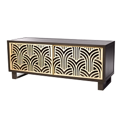 Art Deco Credenza/Media Console, Gray/Natural