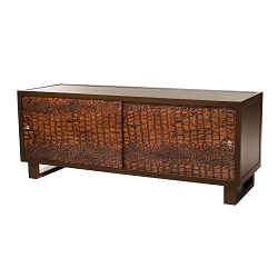 Leather Croc Credenza/Media Console, Espresso/Embossed Leather