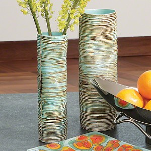 Carved Leaves Dented Vase-Turquoise