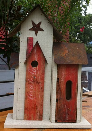 Handmade Unique Reclaimed Coka Cola Birdhouse