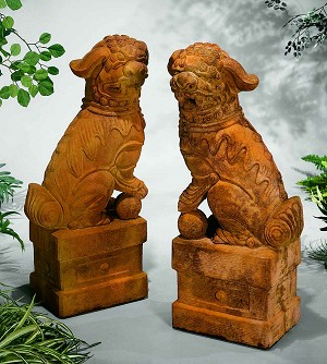 Large Chinese Foo Dogs Garden Statues (Set of 2)