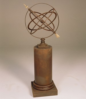 Large Armillary Sphere Garden Art on Column Pedestal