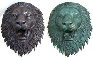 Lilly Bronze Lion Head Wall Fountain