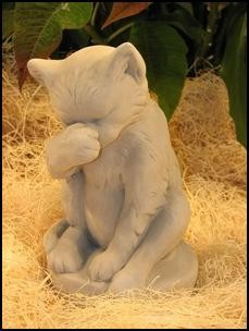 Kitten Washing Statue
