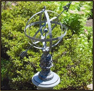Verdigris Colonial Williamsburg Pineapple Armillary Sphere Garden Art
